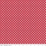 Riley Blake, Small Cream Dots, Red